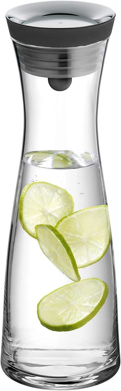 WMF Basic - Botella de agua de cristal, sistema Close Up, Sin accesorios, Negro, 1,0 litros