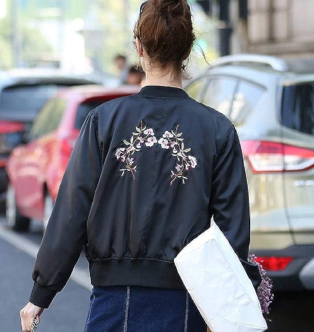 H.Wang Womens Fashion Baseball Long Sleeve Slim Fitted Zip-Up Floral Print Coat