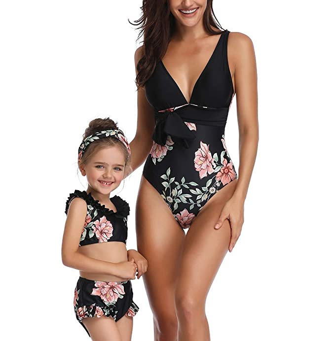 Family Matching Swimwear Mother Daughter Women Kid Baby Girls Swimsuit Bikini UK