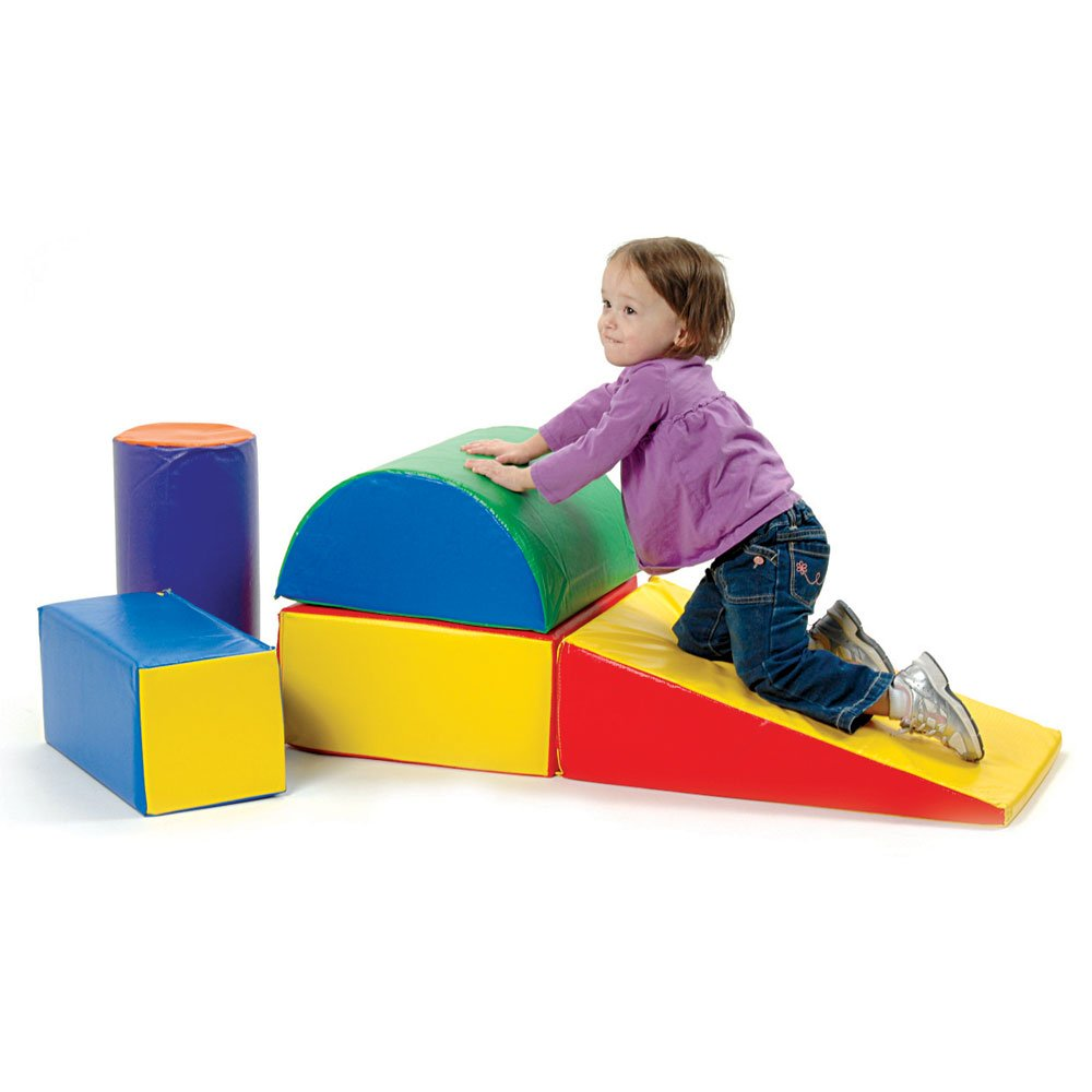 Constructive Playthings 5 Piece Lightweight Vinyl Soft Play Forms for Toddlers, Toddler Climbing, Crawling, Sliding Toys