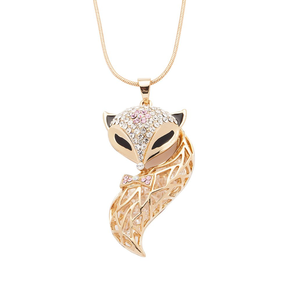 Jusor Fox Crystal Long Necklaces Sweater Chain by Jusor