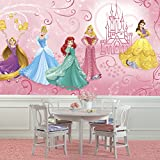 RoomMates JL1388M Disney Princess Enchanted Xl Chair Rail Prepasted Mural 6' x 10.5' - Ultra-Strippable
