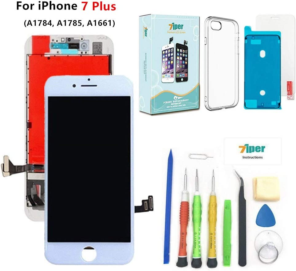 Screen Replacement for iPhone 7 Plus (5.5 inch) - 3D Touch LCD Complete Repair Kits -LCD Touch Digitizer Display Glass Replacement - Free Cover, Tempered Glass, Tools, Instruction (White)