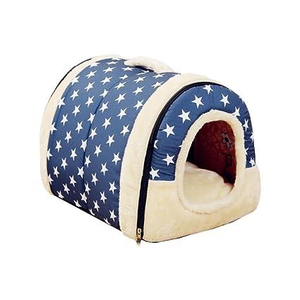 Qotone Dog House Kennel Nest With Mat Plegable Cama de perro para mascotas Cama de gato