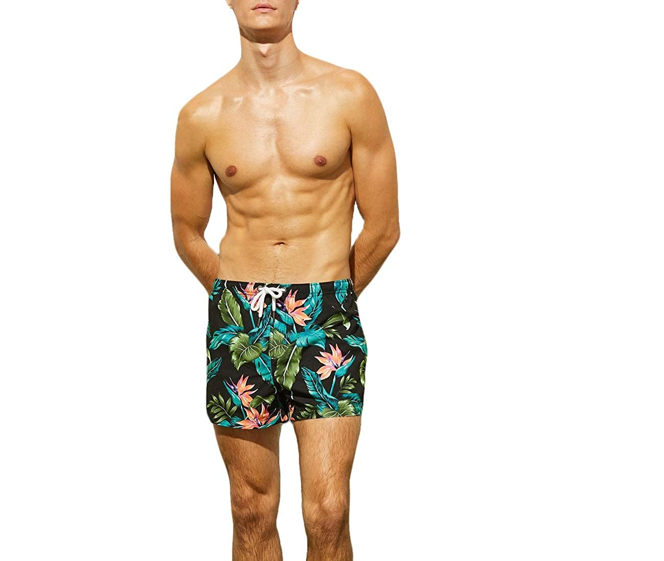 Coolred-Men Shorts Hawaii Style Printed Casual Quick-Drying Beach Trousers