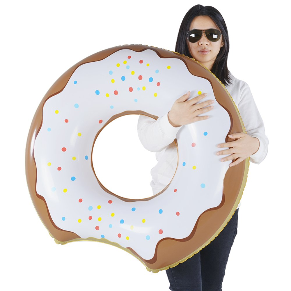 Donut Float, Inflatable Donut Pool Float of Chocolate, Pool or Beach Toy for Kids, Donut Ring of 33 Inches