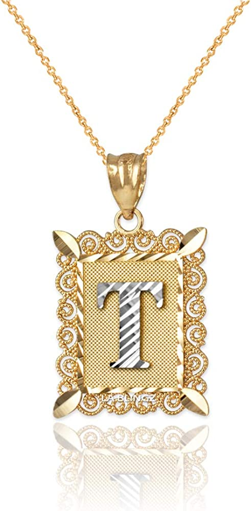 LA BLINGZ 10K Rose Gold Filigree Alphabet Initial Letter W DC Charm Necklace