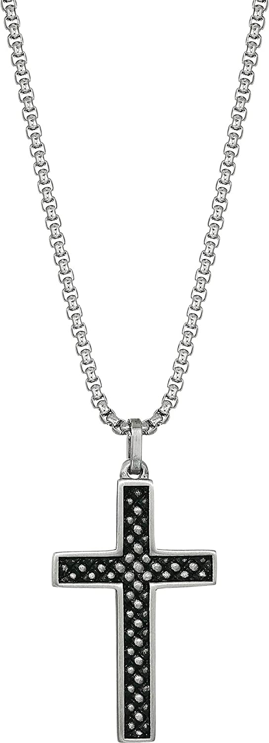 "Steve Madden 28"" Stainless Steel Box Chain Checkered Design Cross Pendant Necklace For Men"