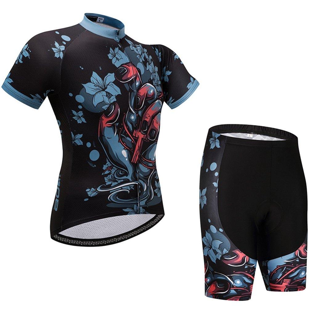 Uriah Women's Cycling Jersey Shorts Sets Short Sleeve Death Flower Size XL(CN) by Uriah