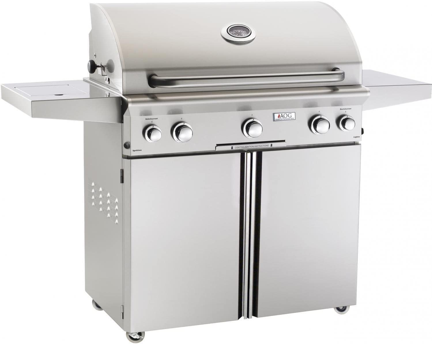 AOG American Outdoor Grill L-Series 36-Inch 3-Burner Propane Gas Grill W/Rotisserie & Single Side Burner - 36PCL
