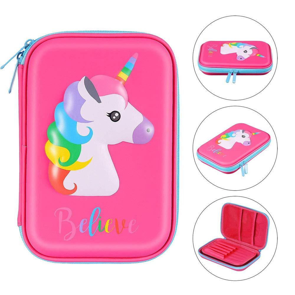 Unicorn 3089 - Estuche rígido para lápices (4 unidades), diseño de unicornio, color Rose Unicorn: Amazon.es: Oficina y papelería