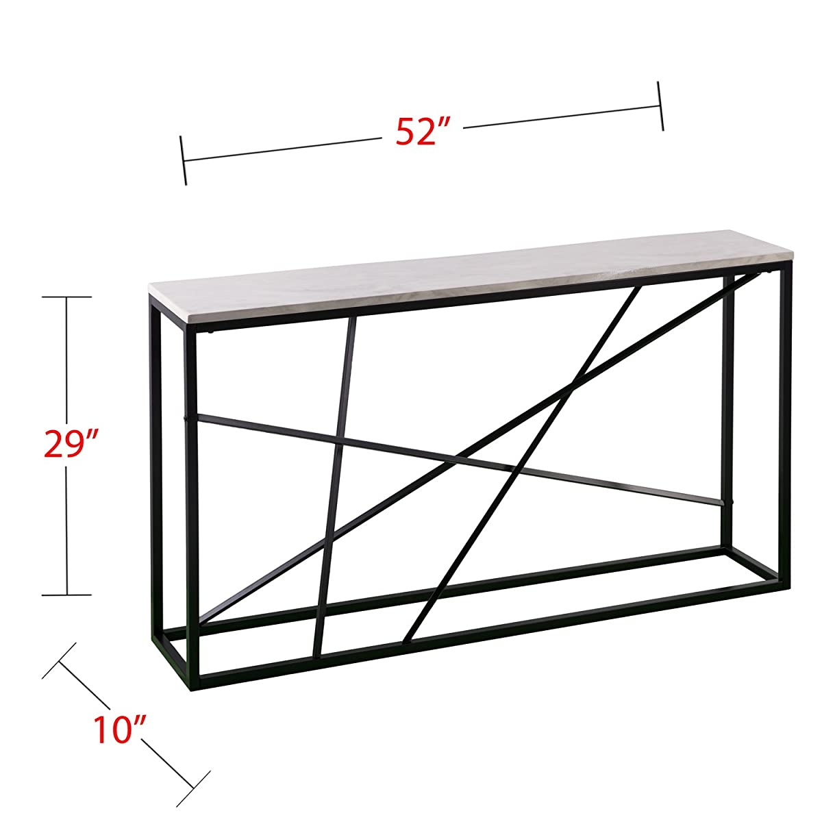 "Furniture HotSpot - Faux Marble Top Skinny Console – Matte Black w/White - 52"" W x 10"" D x 29"" H"
