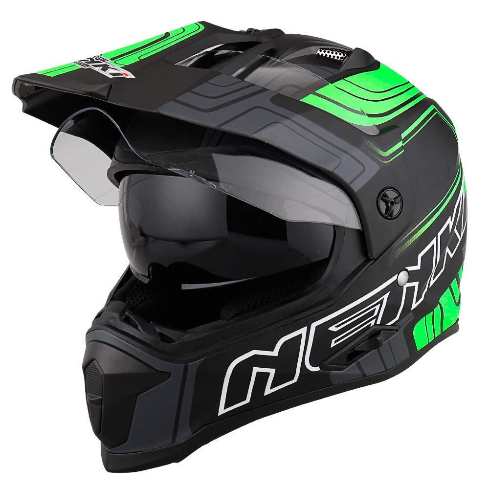 NENKI NK-313 Adventure Dual Sport Enduro Helmets ECE Approved With Sun Visor Large, Black Pink Matt