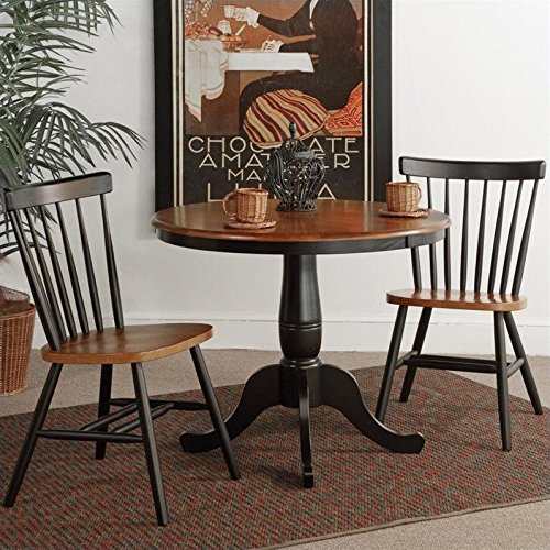 International Concepts 36-Inch Round Pedestal Dining Table with 2 Copenhagen Chairs, Set of 3
