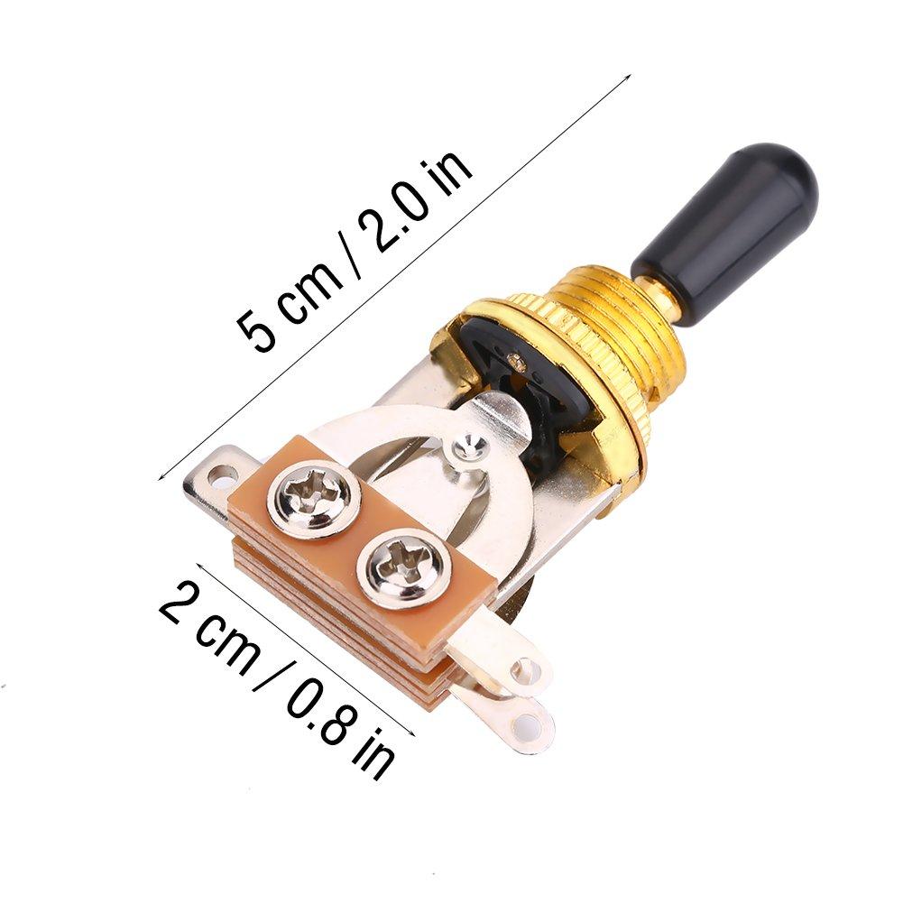 Argent Pi/èce de Rechange pour Guitare /Électrique de Type Lp 1 Interrupteur /à Bascule /à 3 voies en M/étal pour Guitare avec Embout Noir