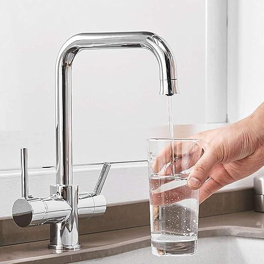 AXWT Filtro for agua potable del grifo de 3 vías Purificador de ...