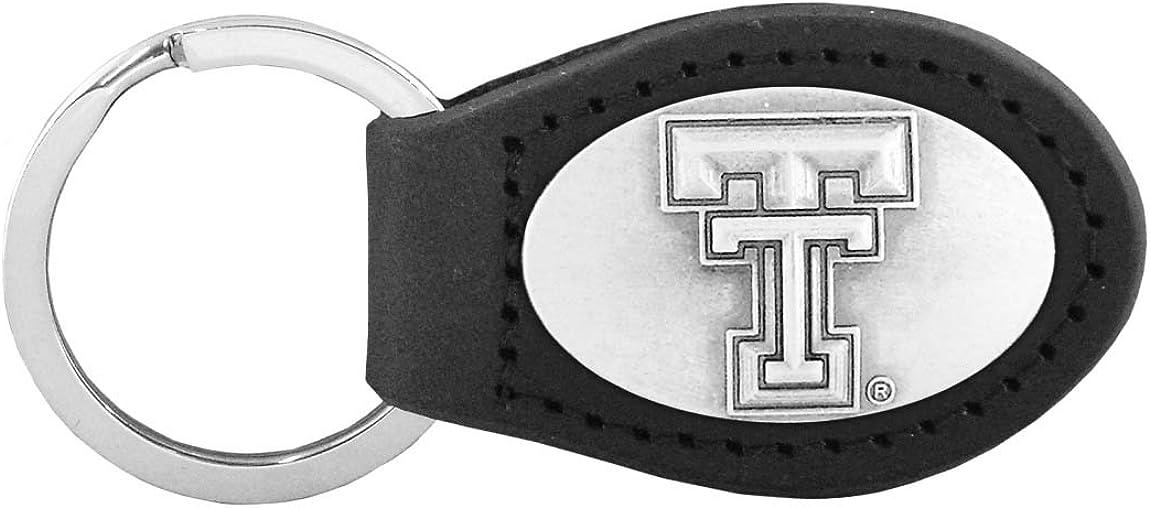 Black NCAA Texas Tech Red Raiders Zep-Pro Leather Concho Key Fob