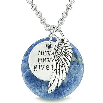 Amazon angel wing and inspirational never never give up angel wing and inspirational quotnever never give upquot amulet sodalite pendant aloadofball Images