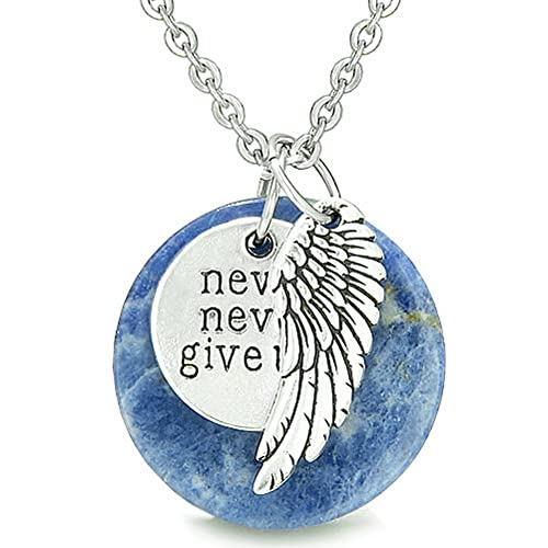 Angel Wing and Inspirational Never Never Give Up Amulet Sodalite Pendant 18 Inch Necklace