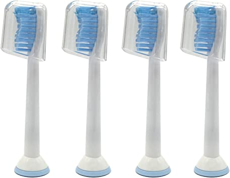 4 uds (1x4) de cabezales de recambio para cepillos de dientes con tapas, cerdas duras E-Cron. Totalmente compatibles Cabezales Repuestos con Philips Sonicare Sensitive.: Amazon.es: Salud y cuidado personal
