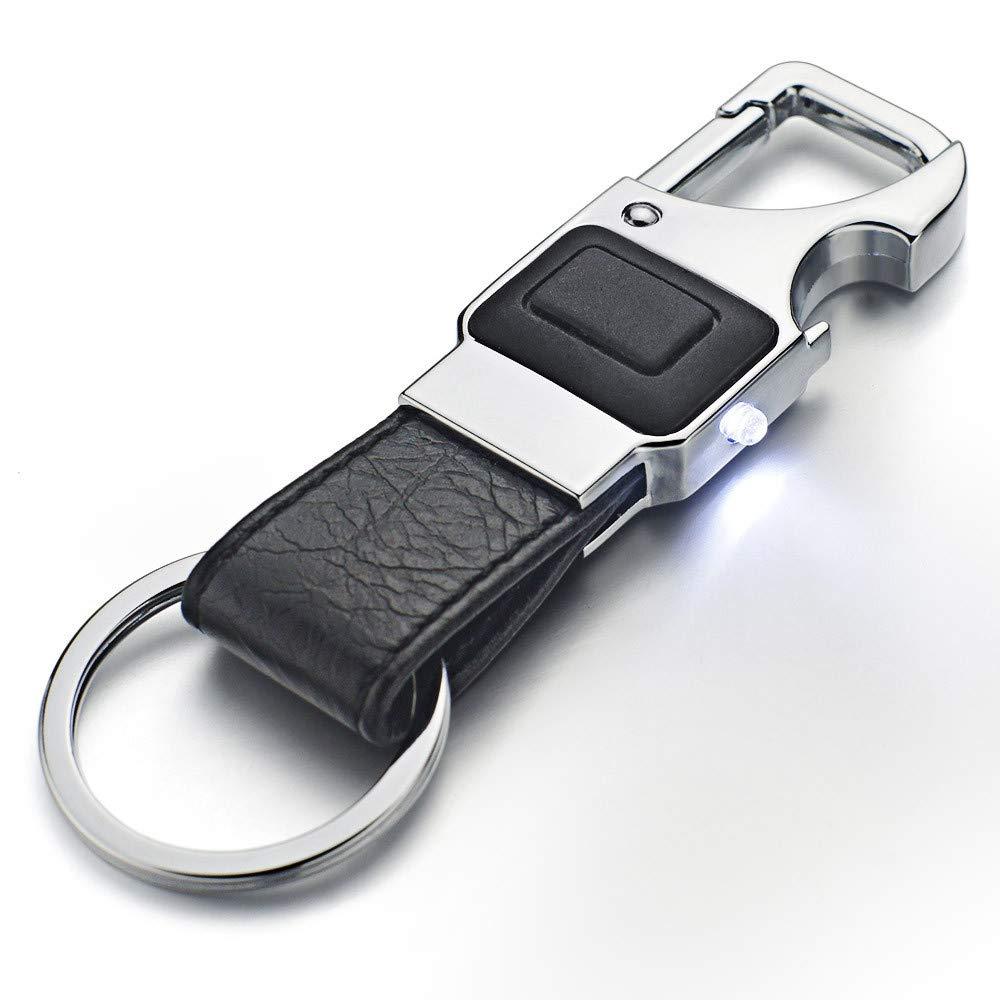 Llavero de cuero de los hombres Anillo dominante del coche de metal Llavero de la herramienta multifuncional LED, Llavero del abrebotellas