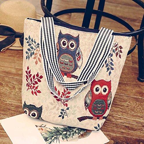 grande ordinateur Sac sac sac mode 2018 à fourre Cartoon à Beige portable bandoulière Mode D bandoulière main sac dames Toile à hibou bandoulière impression à ALIKEEY tout capacité sacs main HgEw1q