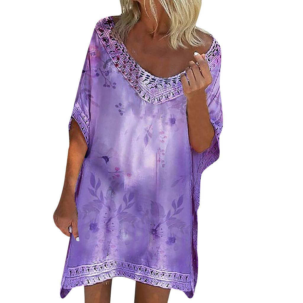 Women Lace Behemian Tunic Dress, Lady Summer Casual Deep V Neck Half Sleeve Vintage Floral Print Beach Mini Dresses (Free Size, Purple)