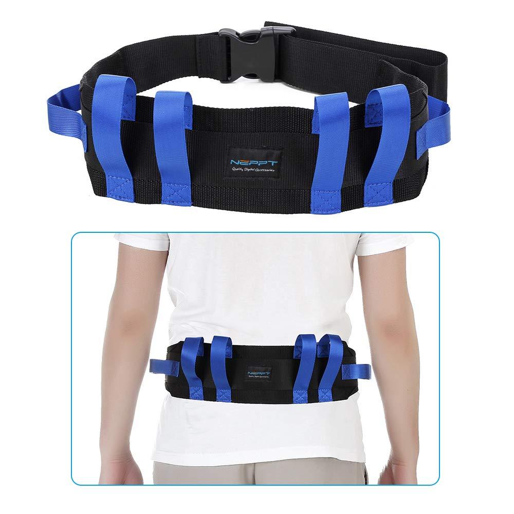 Gait Belt Patient Lift Transfer Board Slide Belt Medical Lifting Transport Belts Gate Grip Belt for Seniors Physical Ttherapy Safety Elderly bariatric Walking Nursing Assist Straps with Handles (Blue) by NEPPT