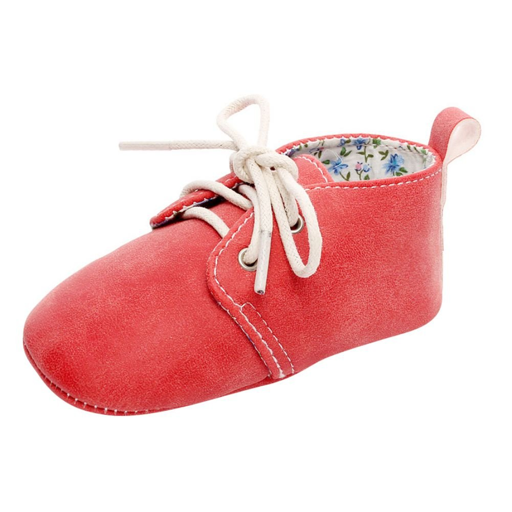 Weixinbuy Baby Boys Girls Soft Soled Lacing Up Crib shoe PU Moccasins