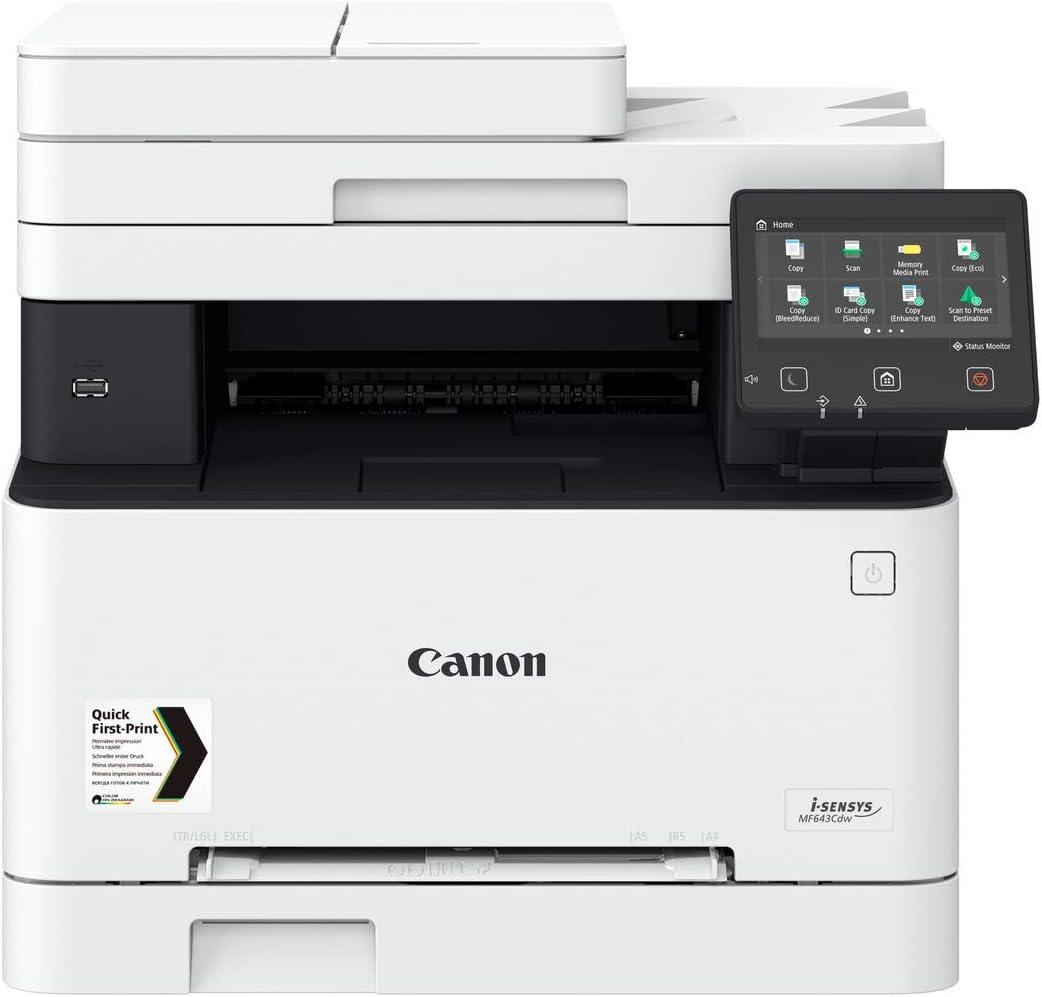 Canon i-SENSYS MF643CDW Laser 21 ppm 1200 x 1200 dpi WiFi - Multifonctions (Laser, Impression Couleur, 1200 x 1200 dpi, Copie Couleur, A4, Noir, Blanc)