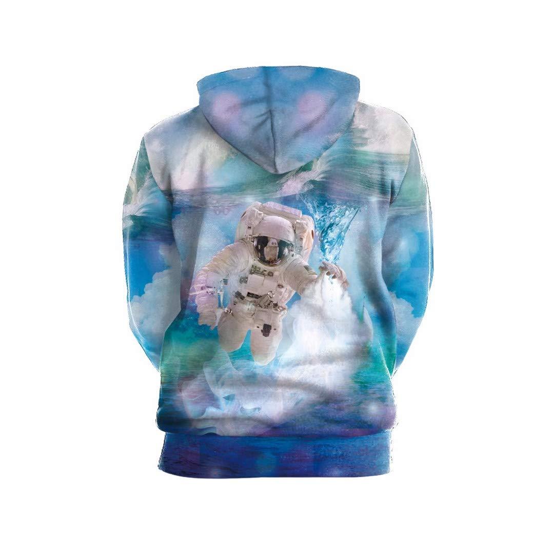 NATUOWFRUQ Watercolor Astronaut Print Hooded Sweatshirt Casual 3D Sweatshirts Streetwear