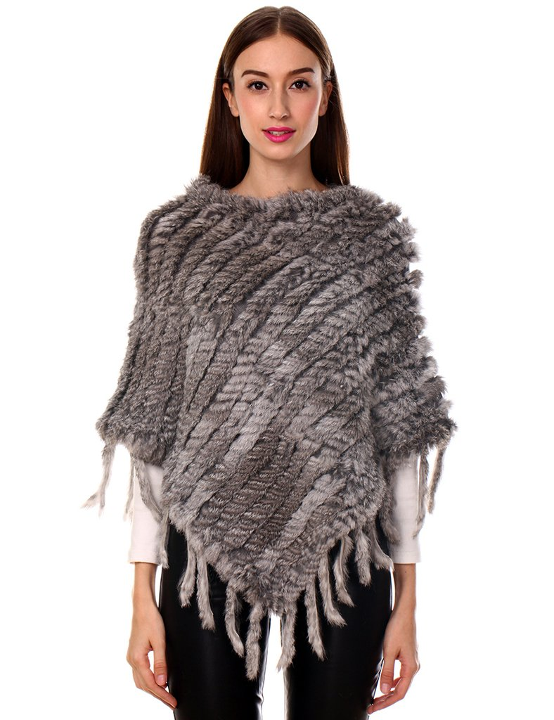 Ferand Women's Elegant Genuine Knitted Rabbit Fur Poncho Cape with Tassels One Size Beige