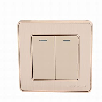 Ugtell On/Off Press Button 2-Gang Multi-Way Wall Switch Home Light ...