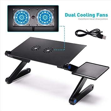 Calle Tribe ajustable soporte para portátil escritorio con 2 ventiladores de refrigeración de CPU y y almohadilla de ratón extraíble lado: Amazon.es: ...