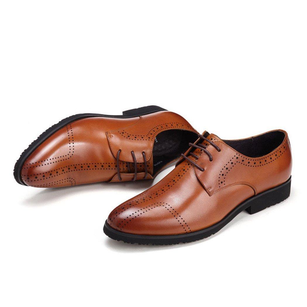 HHY-Los hombres zapatos de cuero otoño encaje zapatos de ocio,brown,39 39|brown brown
