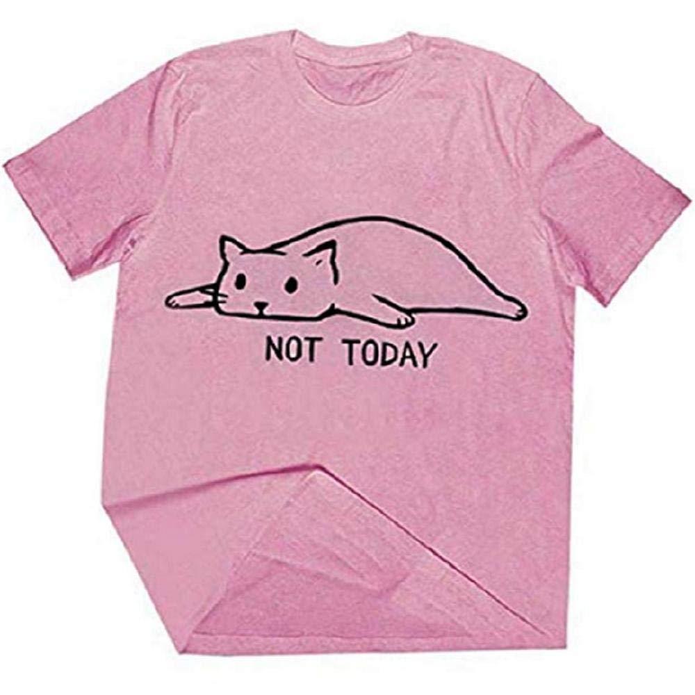 AKDR T-Shirt Estiva da Donna Crazy Cat T-Shirt Casual