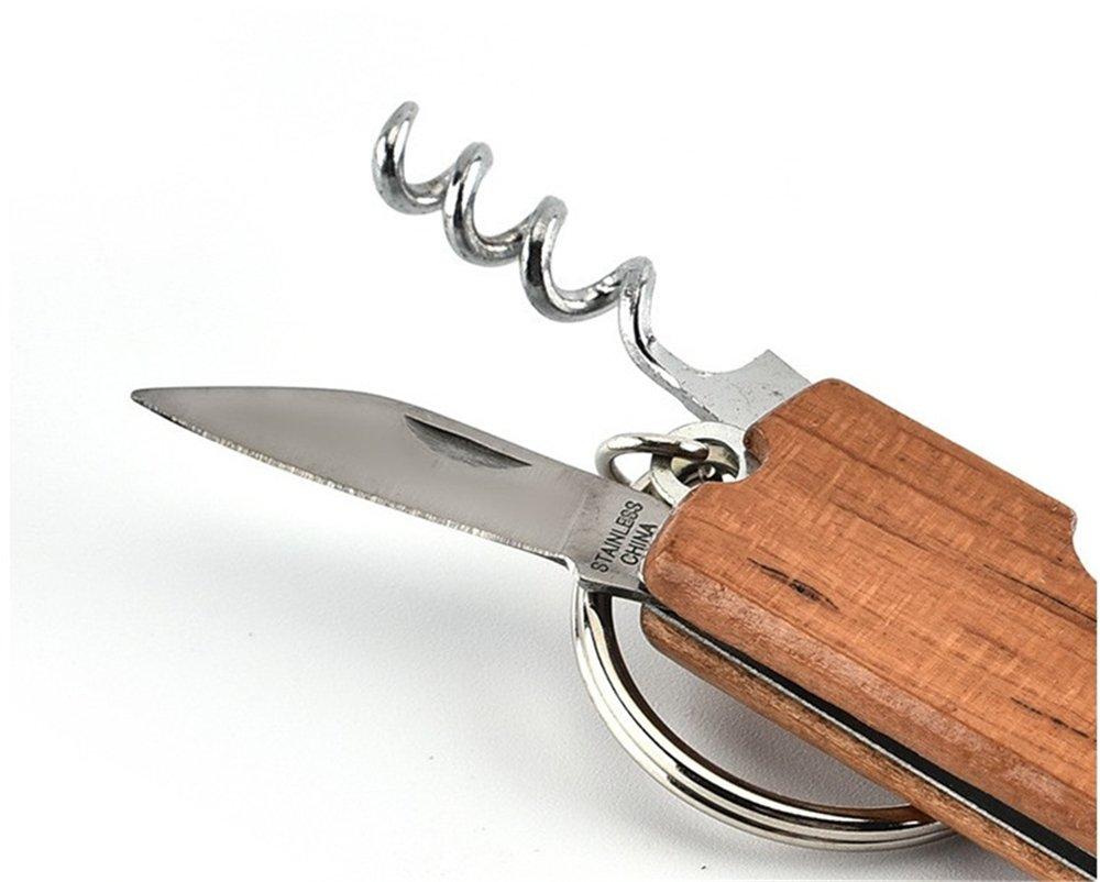 Bottle Opener Keychain, NPYPQ Stainless Steel Beer Opener Corkscrew Wine Opener for Women and Men - Wood by NPYPQ (Image #6)