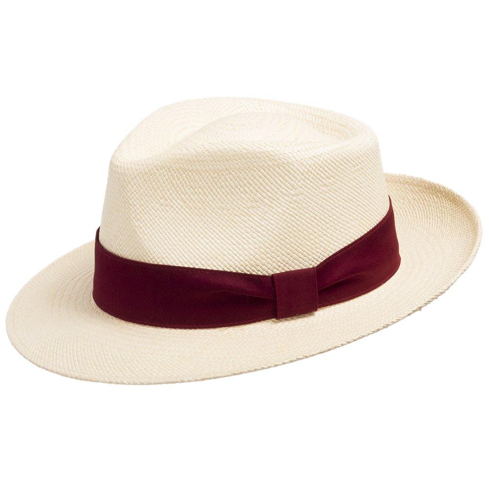 Genuine Havana Classic Panama Straw Dress Hat Comfortable Red hatband 6 7/8