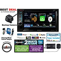 Kenwood DDX6702S In Dash DVD Receiver wtih Apple CarPlay, Backup Camera CMOS-22P, PAC SWI-RC Volume Controls, SiriusXM Tuner and Antenna SXV300v1 with a FREE SOTS Air Freshener