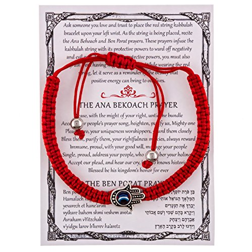 - Gifts From Jerusalem Red String Kabbalah Bracelet With Hamsa and Eye