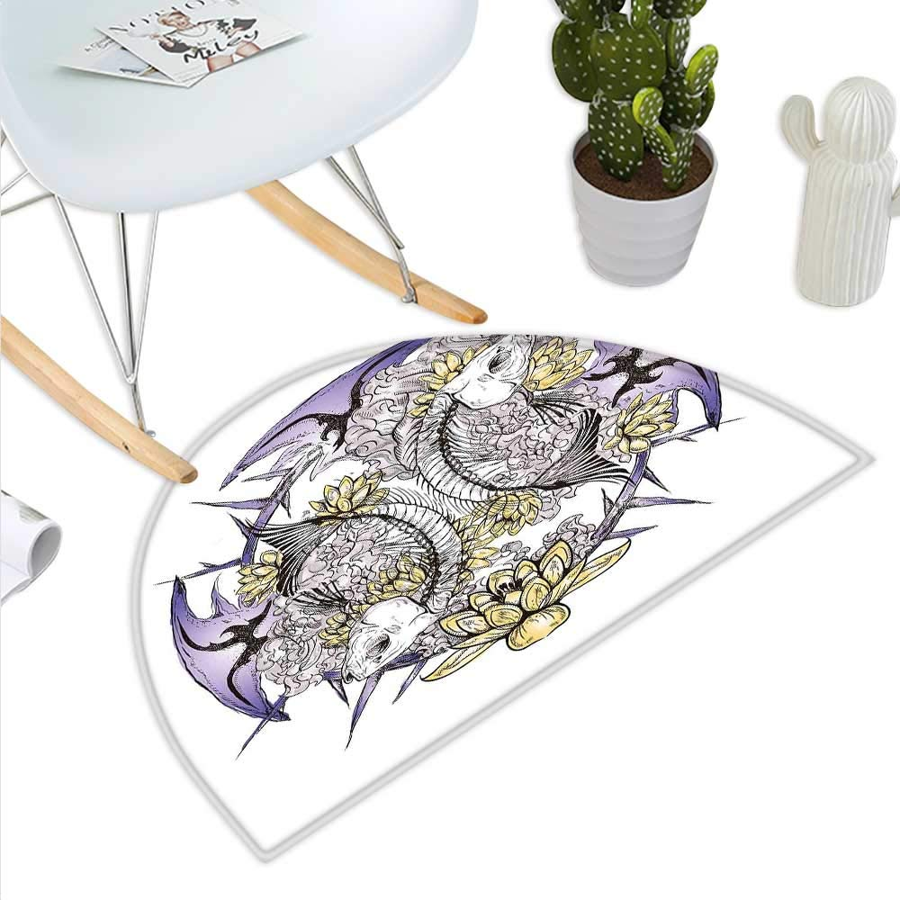 color01 H 27.5\ Skull Semicircle Doormat Pisces Fish with Lotus Flowers Traditional Eastern Symbolic Spiritual Religious Halfmoon doormats H 27.5  xD 41.3  Yellow Purple