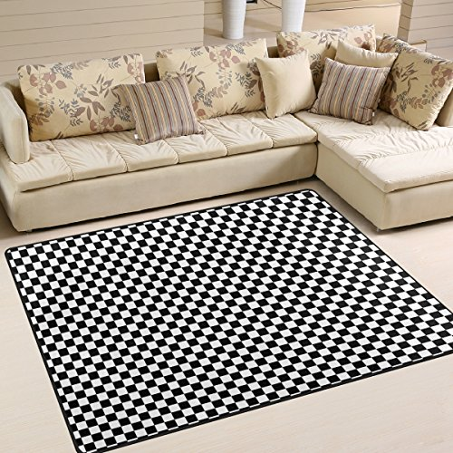 YZGO Black & White Checkerboard Kids Area RugClassic Checkered Non-Slip Floor Mat Soft Resting Area Doormats for Living Dining Bedroom 5' x 7'