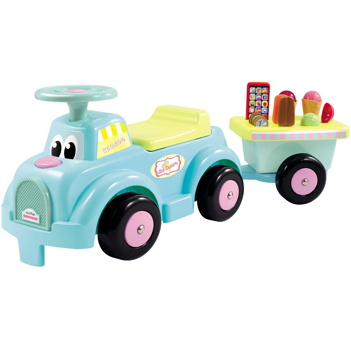 Unbekannt Rutschauto mit Anhänger, Eisdiele, 15 Teile, für Kinder ab 12 Monaten - Rutscherauto Baby Kinder Rutscher Fahrzeug Rutsch Auto Spielzeug Spiele Set Siehe Beschreibung