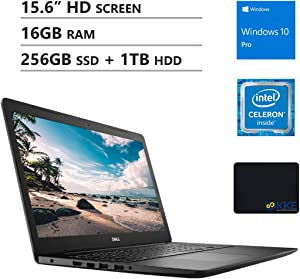 "Dell Inspiron 15.6"" HD Business Laptop, Intel 4205U, 16GB Memory, 256GB PCIe Solid State Drive + 1TB HDD, DVD Drive, WiFi, HDMI, Webcam, KKE Mousepad, Win10 Pro, Black"
