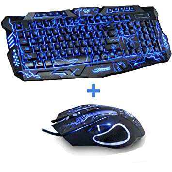 Amazon.com: PCEPEIVK Tri-Color Backlit Computer Gaming Keyboard Teclado USB Powered Full N-Key Game Keyboard for Desktop Laptop Russian Sticker: Electronics