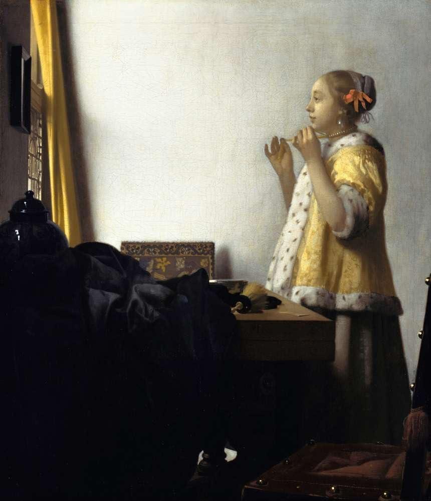 SOLOVER Toalla de Playa, Toalla de baño, Fitness, Yoga, Natación, Viajes, Bañarse -Johannes Vermeer - Mujer con Un Collar De Perlas Reproducción -110X150 cm (Approx. 44X60 Inch)