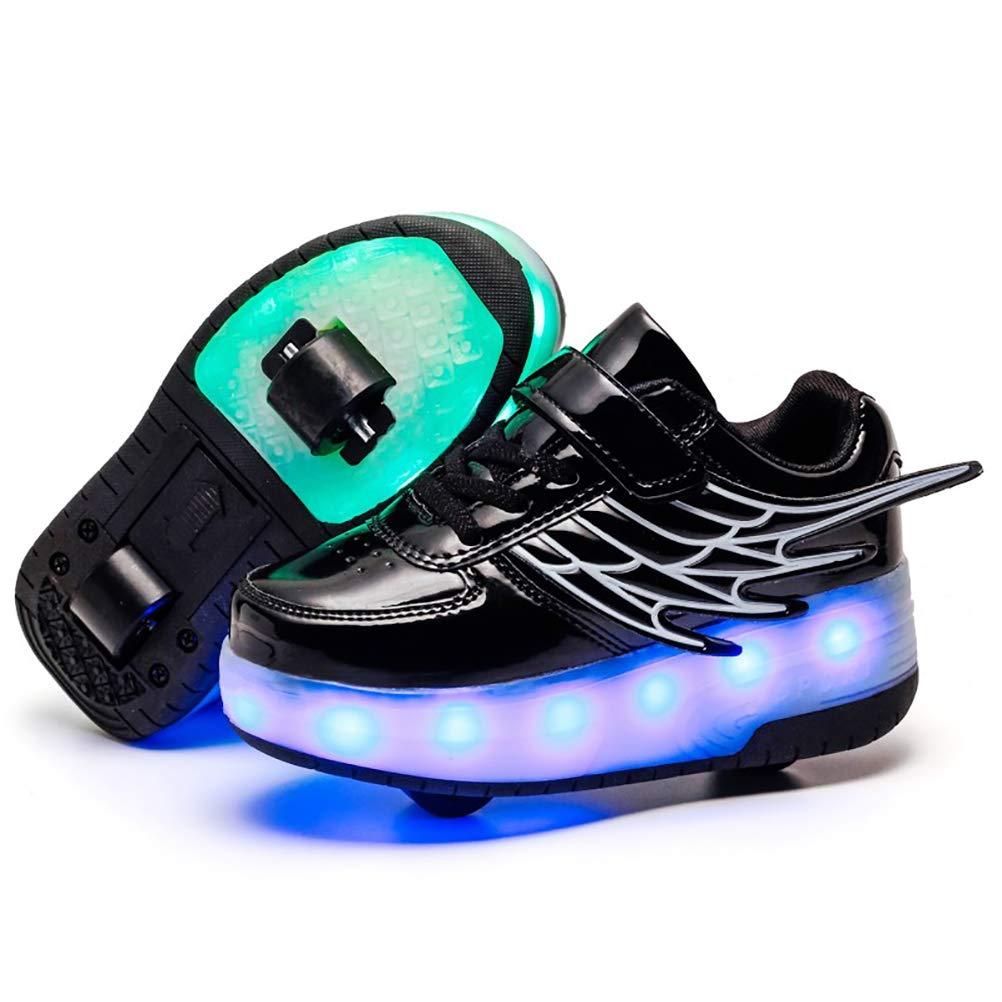 ONEKE Light Up Shoes Boys Girls Kids Roller Skates Sneakers USB Charge LED Wheeled Skate Running Shoes Rollerblades Sports Skating Shoes for Beginners (Black, 3.5M Big Kid)