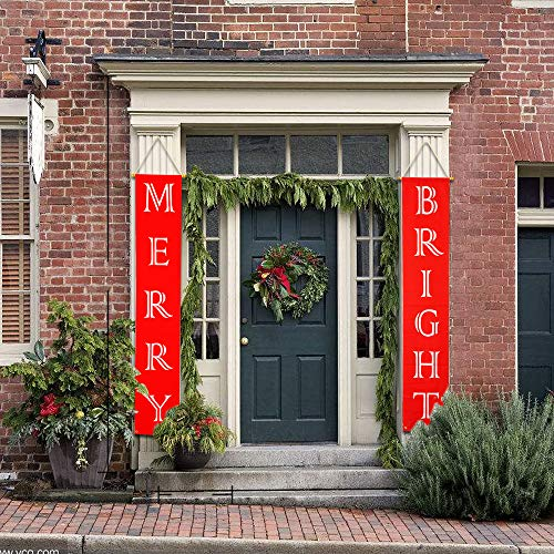 Christmas Decorations, Merry Bright Porch Sign Banner Door, Red Xmas Decor Hanging Banners for Home Wall Door Apartment Party