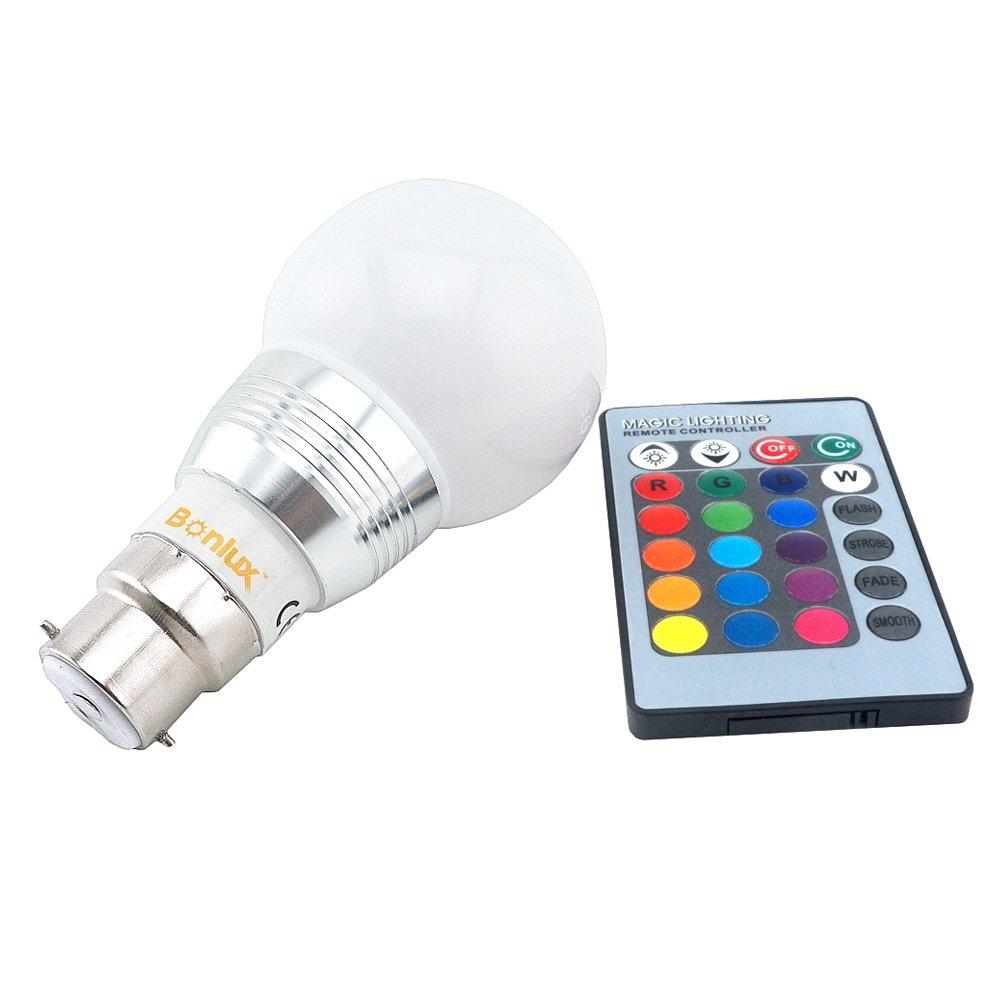 Bonlux Ampoule 3W RVB B22 baïonnette LED avec télécommande IR contrôleur 16 Multi couleur changeant baïonnette bouchon BC RGB LED GLS ampoule pour un éclairage d'Ambiance maison d&ea