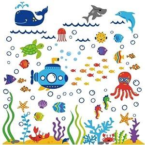 The Deep Blue Sea Decorative Peel & Stick Wall Art Sticker Decals by Cherry Creek